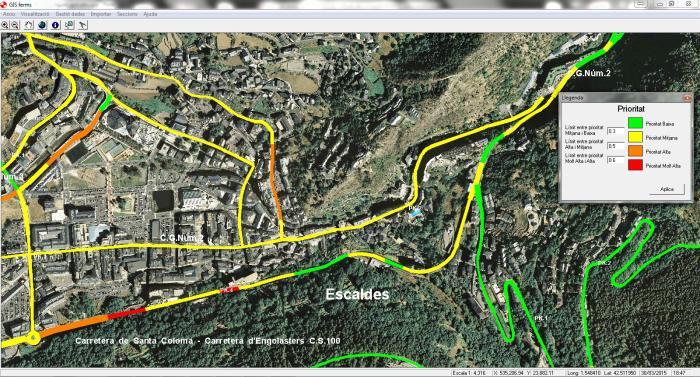 GIS ferms Andorra, aplicatiu, manteniment carreteres